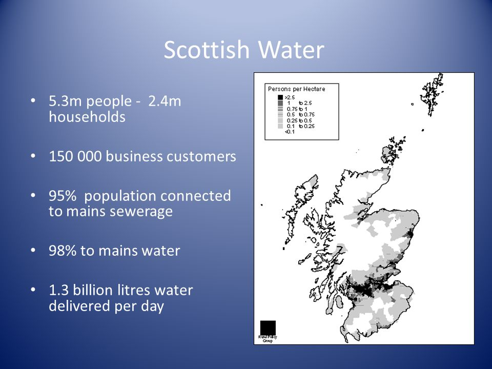 Three regional water authorities Huge challenge to meet EU Directives Heavy reliance on PFI for wastewater investment English privatisation challenge Scottish Water : History 1996-2002