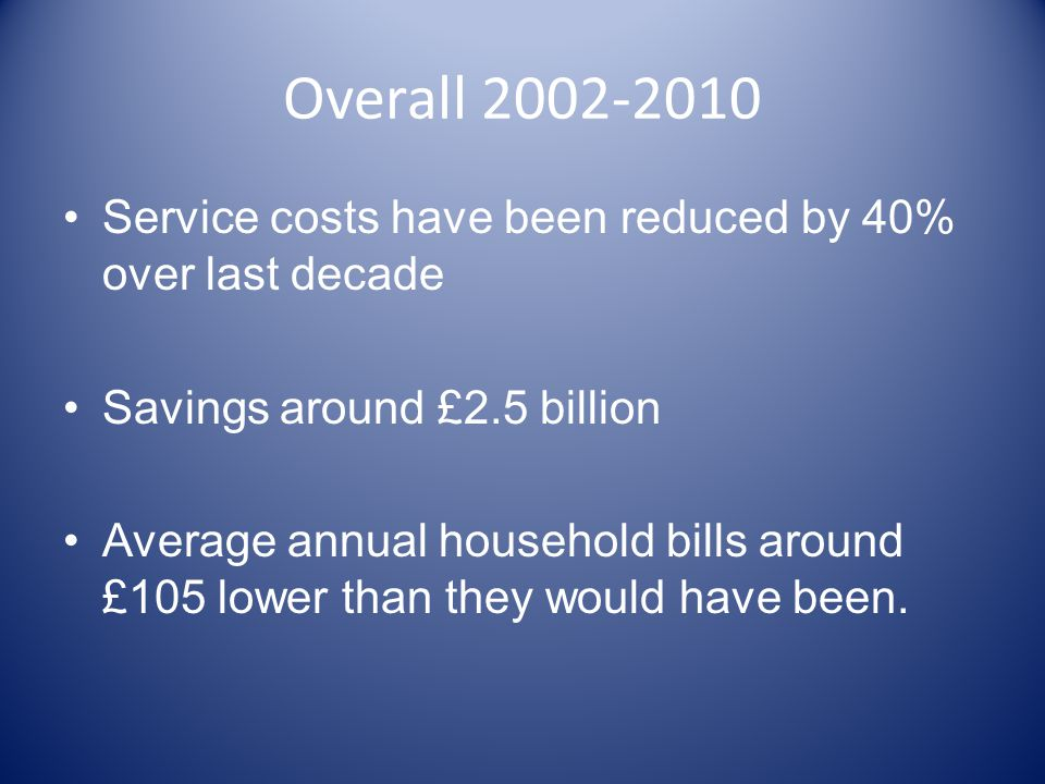 Overall 2002-2010 Service costs have been reduced by 40% over last decade Savings around £2.5 billion Average annual household bills around £105 lower than they would have been.
