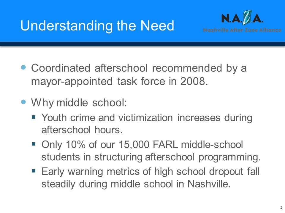Understanding the Need Coordinated afterschool recommended by a mayor-appointed task force in 2008.