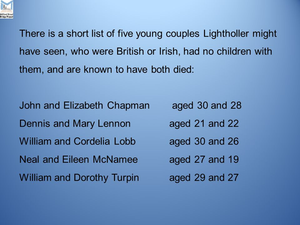 There is a short list of five young couples Lightholler might have seen, who were British or Irish, had no children with them, and are known to have both died: John and Elizabeth Chapman aged 30 and 28 Dennis and Mary Lennonaged 21 and 22 William and Cordelia Lobb aged 30 and 26 Neal and Eileen McNameeaged 27 and 19 William and Dorothy Turpinaged 29 and 27