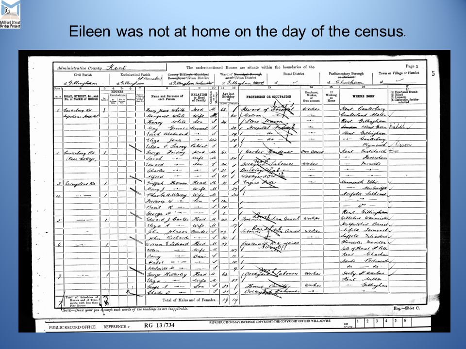 Eileen was not at home on the day of the census.