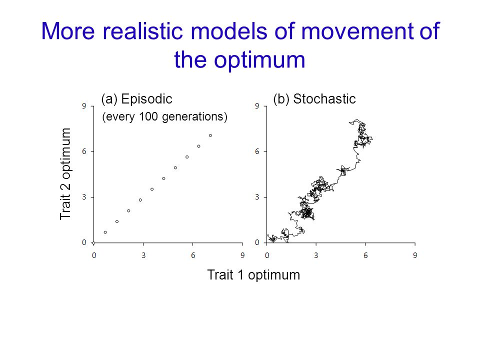 More realistic models of movement of the optimum (a) Episodic(b) Stochastic Trait 1 optimum Trait 2 optimum (every 100 generations)
