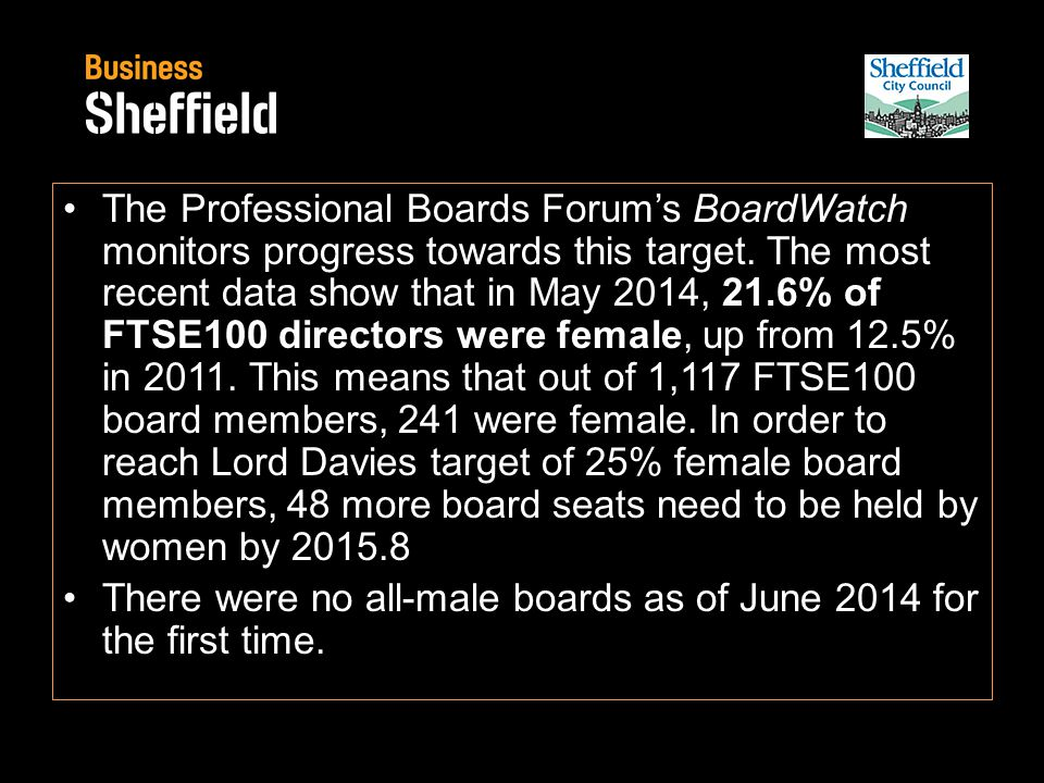 The Professional Boards Forum's BoardWatch monitors progress towards this target.