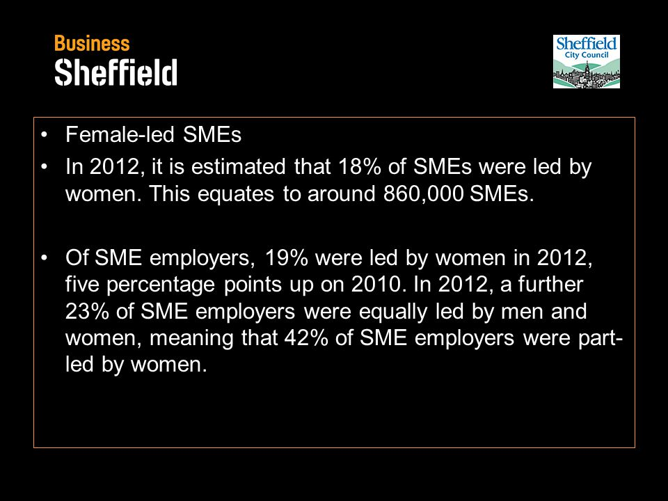 Female-led SMEs In 2012, it is estimated that 18% of SMEs were led by women.