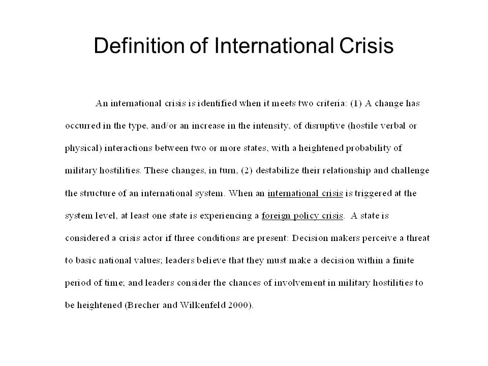 Definition of International Crisis