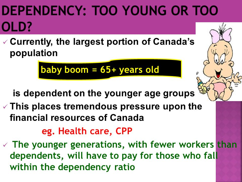 Currently, the largest portion of Canada's population is dependent on the younger age groups This places tremendous pressure upon the financial resources of Canada eg.