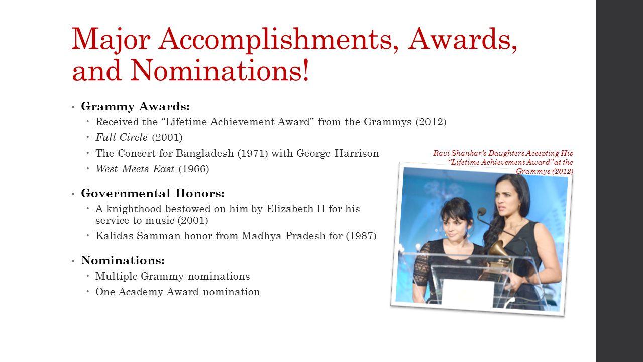 Major Accomplishments, Awards, and Nominations.