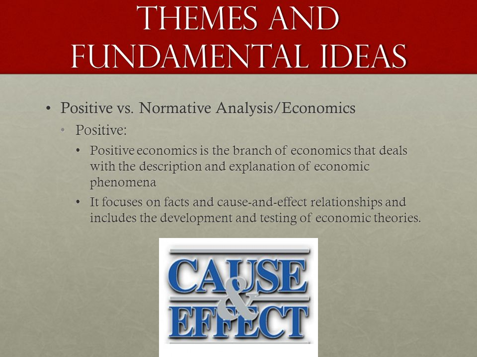 Themes and Fundamental Ideas Positive vs.Normative Analysis/EconomicsPositive vs.