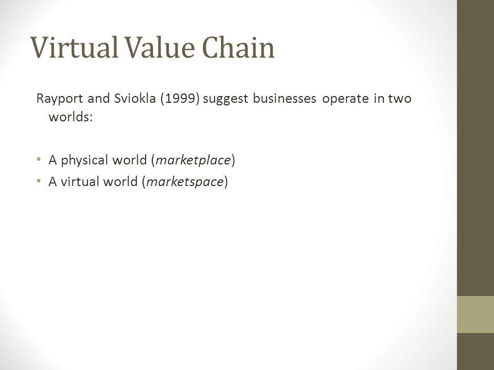 Virtual Value Chain Rayport and Sviokla (1999) suggest businesses operate in two worlds: A physical world (marketplace) A virtual world (marketspace)