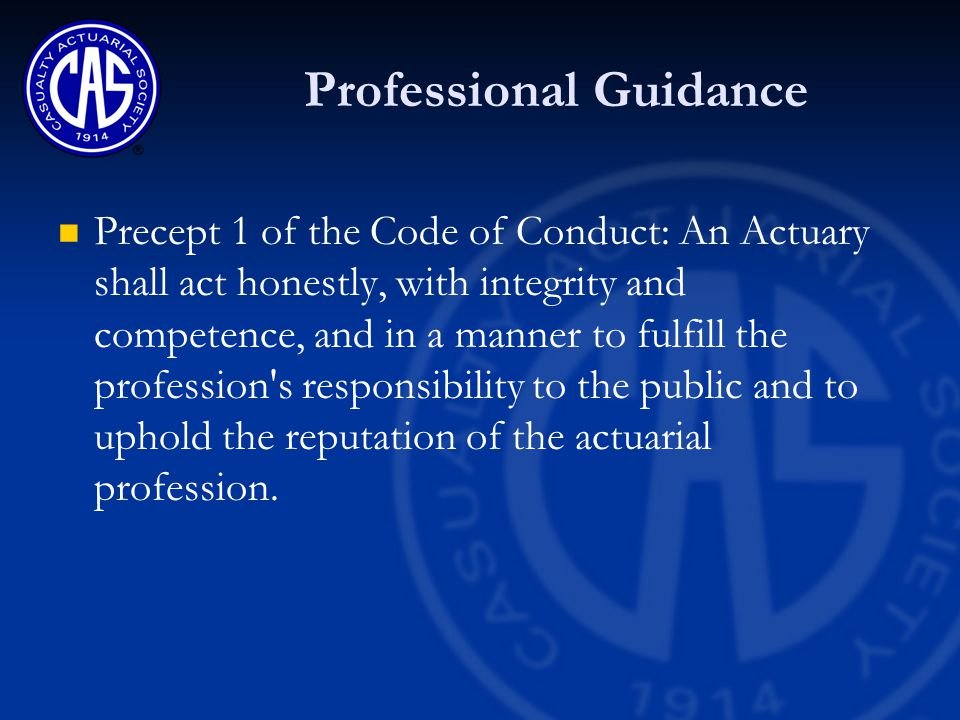 Professional Guidance Precept 1 of the Code of Conduct Annotation 1-1 -- An Actuary shall perform Actuarial Services with skill and care.