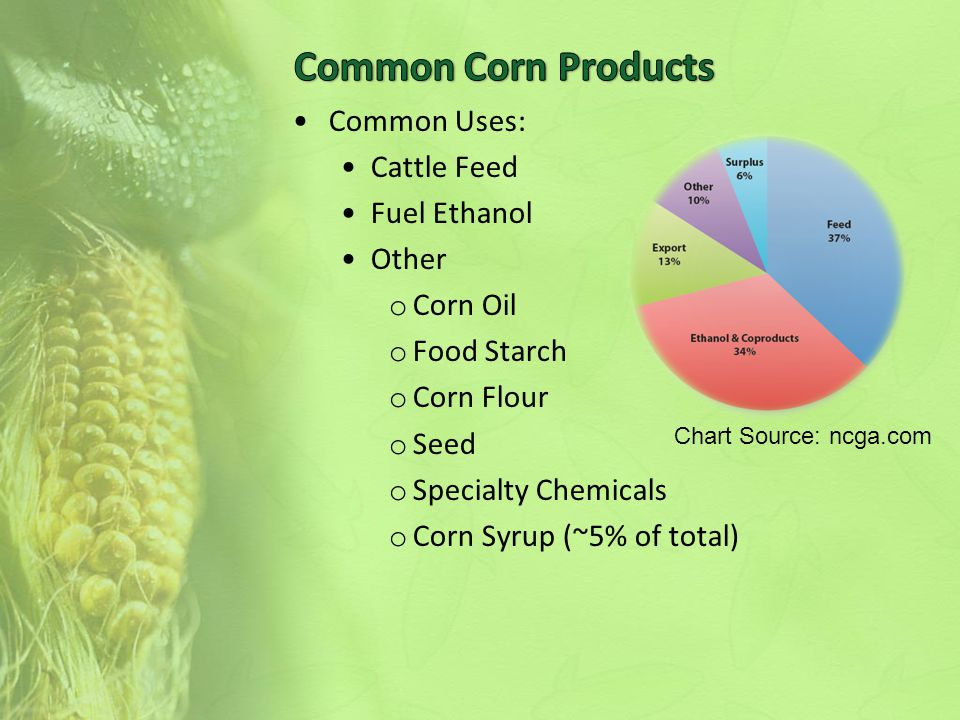 Common Uses: Cattle Feed Fuel Ethanol Other o Corn Oil o Food Starch o Corn Flour o Seed o Specialty Chemicals o Corn Syrup (~5% of total) Chart Source: ncga.com