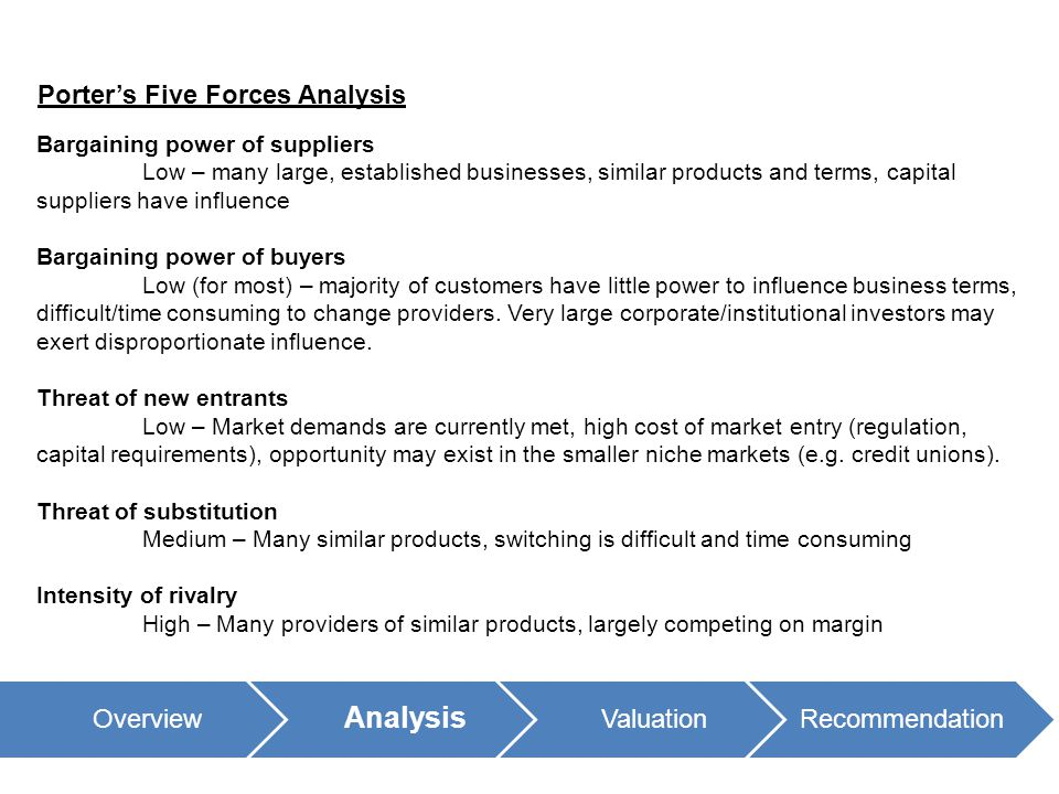 Overview Analysis ValuationRecommendation Porter's Five Forces Analysis Bargaining power of suppliers Low – many large, established businesses, similar products and terms, capital suppliers have influence Bargaining power of buyers Low (for most) – majority of customers have little power to influence business terms, difficult/time consuming to change providers.