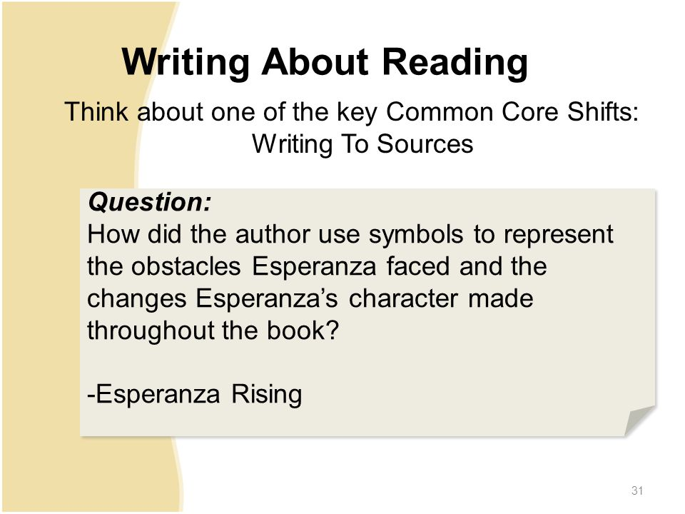 31 Writing About Reading Question: How did the author use symbols to represent the obstacles Esperanza faced and the changes Esperanza's character made throughout the book.