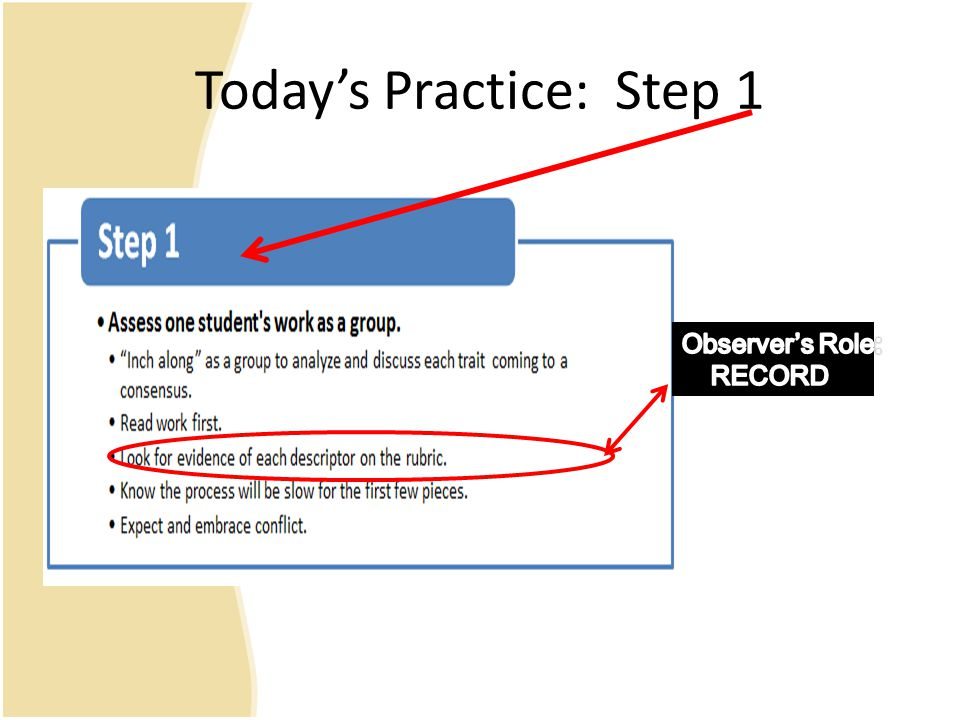 Today's Practice: Step 1