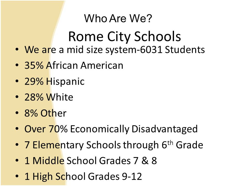 Rome City Schools We are a mid size system-6031 Students 35% African American 29% Hispanic 28% White 8% Other Over 70% Economically Disadvantaged 7 Elementary Schools through 6 th Grade 1 Middle School Grades 7 & 8 1 High School Grades 9-12 Who Are We?