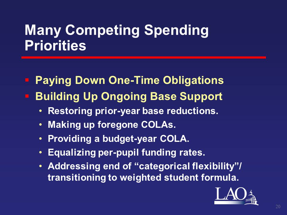 LAO Many Competing Spending Priorities  Paying Down One-Time Obligations  Building Up Ongoing Base Support Restoring prior-year base reductions.