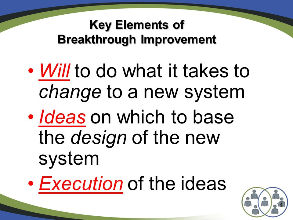 14 Key Elements of Breakthrough Improvement Will to do what it takes to change to a new system Ideas on which to base the design of the new system Execution of the ideas