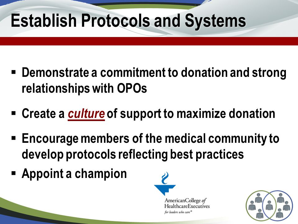 Establish Protocols and Systems  Demonstrate a commitment to donation and strong relationships with OPOs  Create a culture of support to maximize donation  Encourage members of the medical community to develop protocols reflecting best practices  Appoint a champion
