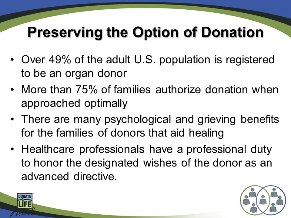Preserving the Option of Donation Over 49% of the adult U.S.