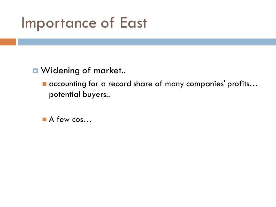 Importance of East  Widening of market..