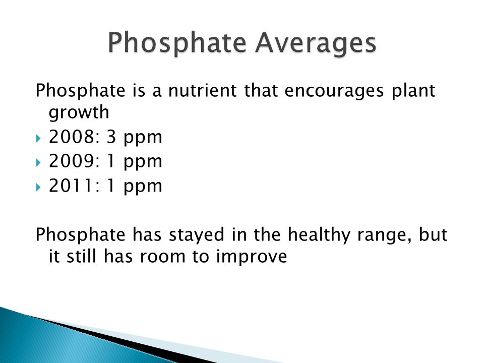 Phosphate is a nutrient that encourages plant growth  2008: 3 ppm  2009: 1 ppm  2011: 1 ppm Phosphate has stayed in the healthy range, but it still
