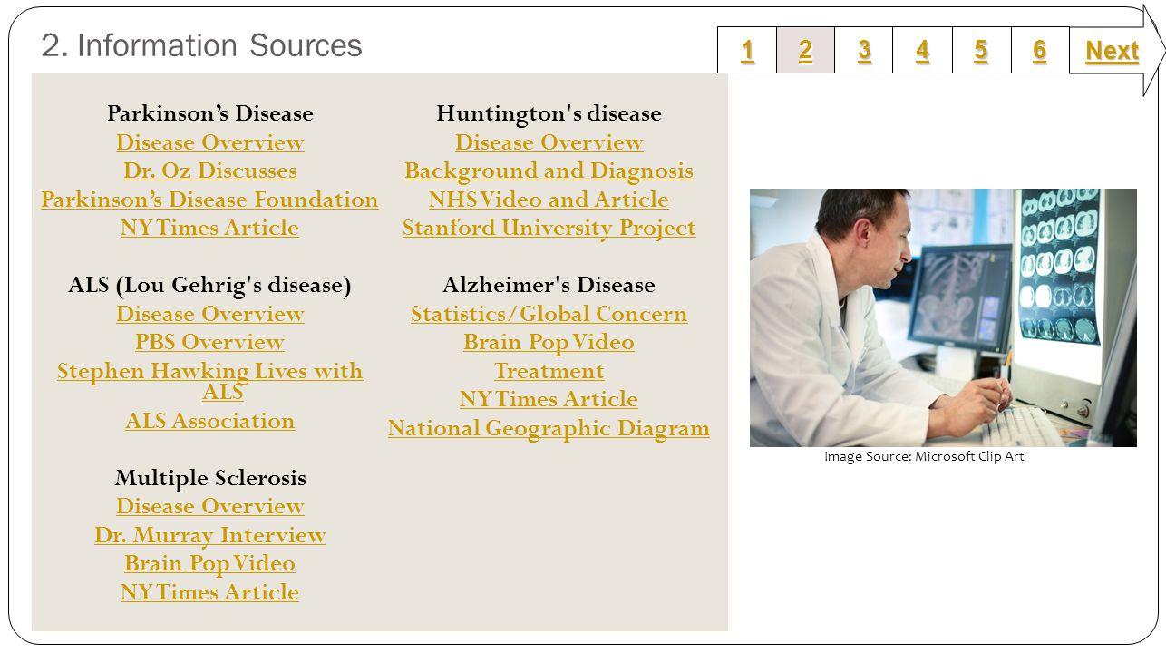 2. Information Sources Parkinson's Disease Disease Overview Dr. Oz Discusses Parkinson's Disease Foundation NY Times Article ALS (Lou Gehrig's disease
