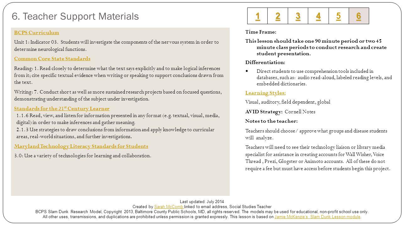 6. Teacher Support Materials BCPS Curriculum Unit 1: Indicator 03.