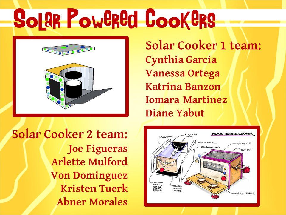 Solar Cooker 1 team: Cynthia Garcia Vanessa Ortega Katrina Banzon Iomara Martinez Diane Yabut Solar Powered Cookers Solar Cooker 2 team: Joe Figueras Arlette Mulford Von Dominguez Kristen Tuerk Abner Morales