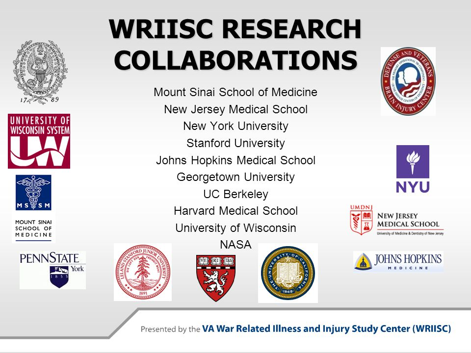 WRIISC RESEARCH COLLABORATIONS Mount Sinai School of Medicine New Jersey Medical School New York University Stanford University Johns Hopkins Medical School Georgetown University UC Berkeley Harvard Medical School University of Wisconsin NASA