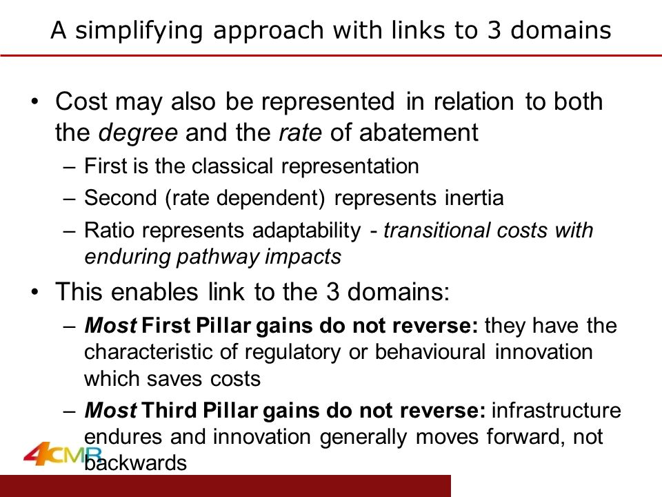 www.eprg.group.cam.ac.uk A simplifying approach with links to 3 domains Cost may also be represented in relation to both the degree and the rate of abatement –First is the classical representation –Second (rate dependent) represents inertia –Ratio represents adaptability - transitional costs with enduring pathway impacts This enables link to the 3 domains: –Most First Pillar gains do not reverse: they have the characteristic of regulatory or behavioural innovation which saves costs –Most Third Pillar gains do not reverse: infrastructure endures and innovation generally moves forward, not backwards