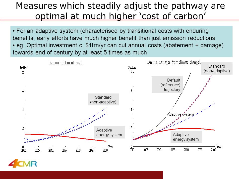 www.eprg.group.cam.ac.uk 'Optimal' effort Adaptive system For an adaptive system (characterised by transitional costs with enduring benefits, early efforts have much higher benefit than just emission reductions eg.