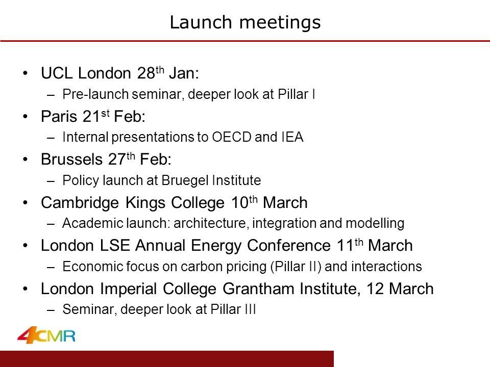 www.eprg.group.cam.ac.uk Launch meetings UCL London 28 th Jan: –Pre-launch seminar, deeper look at Pillar I Paris 21 st Feb: –Internal presentations t