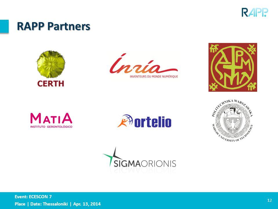 Event: ECESCON 7 Place | Date: Thessaloniki | Apr. 13, 2014 RAPP Partners 12