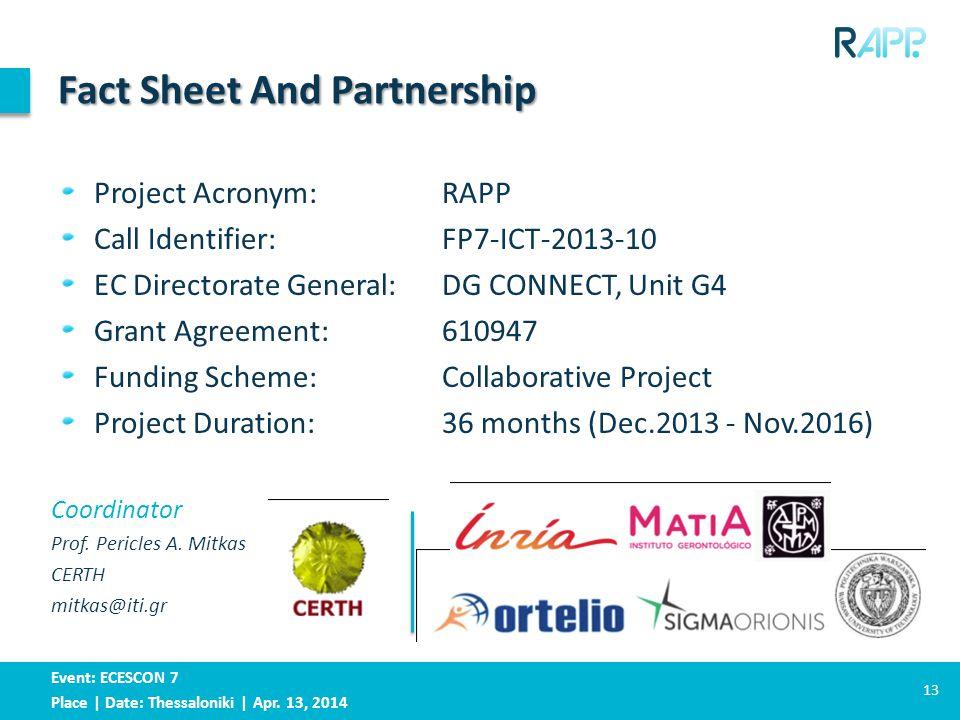 Event: ECESCON 7 Place | Date: Thessaloniki | Apr. 13, 2014 Coordinator Prof. Pericles A. Mitkas CERTH mitkas@iti.gr Fact Sheet And Partnership Projec
