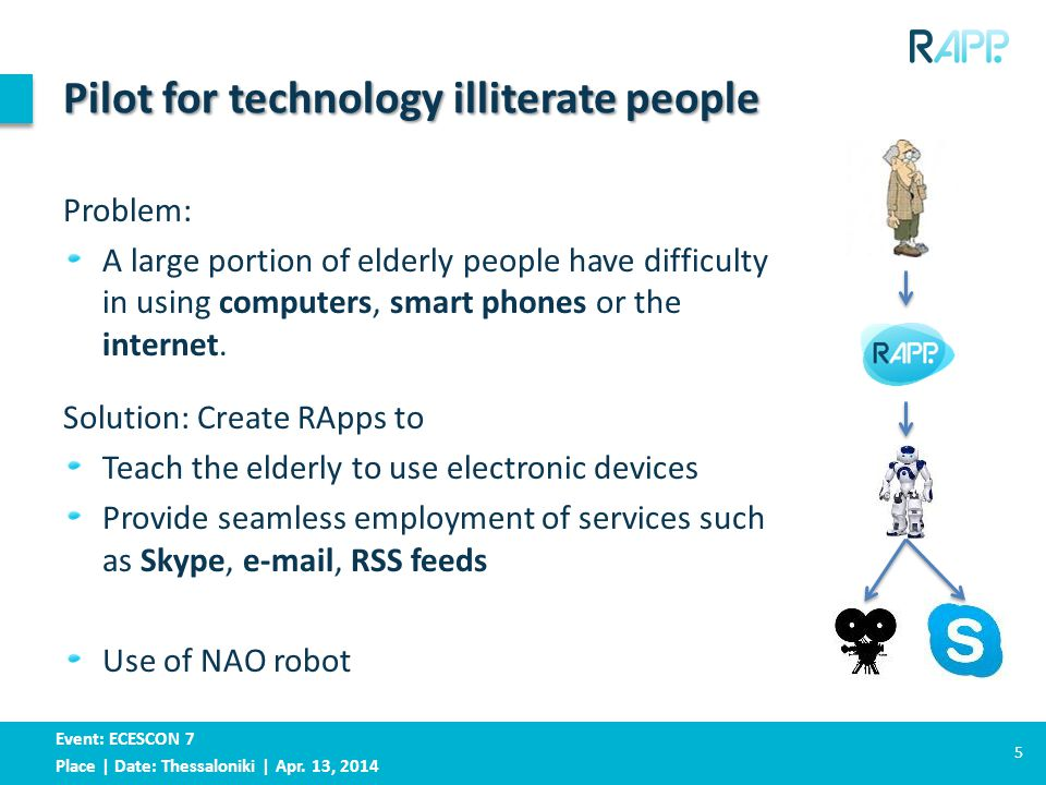 Event: ECESCON 7 Place | Date: Thessaloniki | Apr. 13, 2014 Pilot for technology illiterate people Problem: A large portion of elderly people have dif