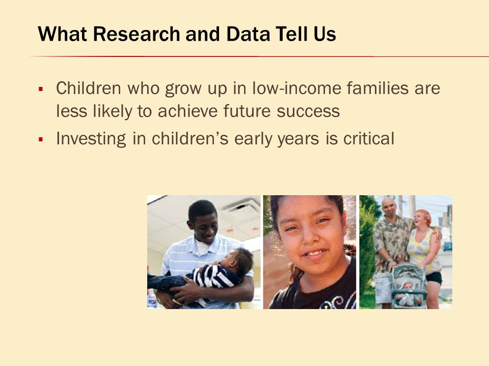  Children who grow up in low-income families are less likely to achieve future success  Investing in children's early years is critical What Researc