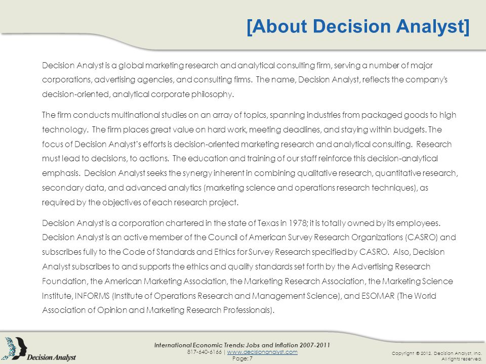 Copyright © 2012.Decision Analyst, Inc. All rights reserved.