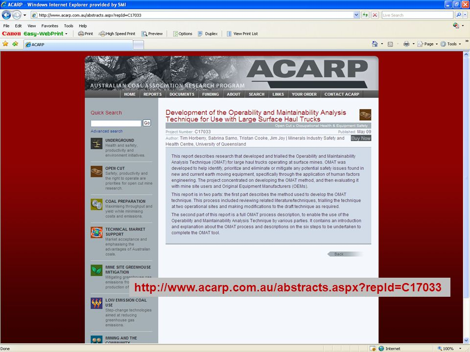 OMAT report http://www.acarp.com.au/abstracts.aspx repId=C17033