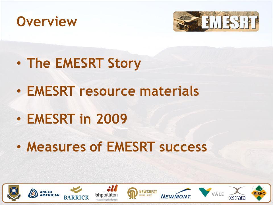 Overview The EMESRT Story EMESRT resource materials EMESRT in 2009 Measures of EMESRT success