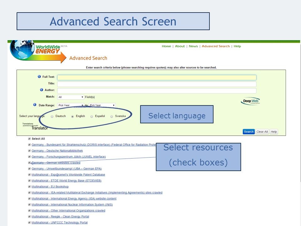 Select resources (check boxes) Advanced Search Screen Select language