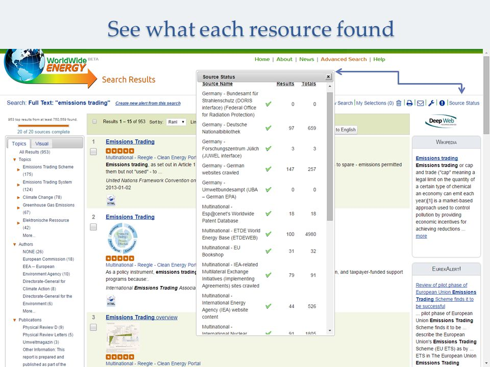 See what each resource found