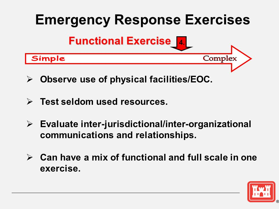  Observe use of physical facilities/EOC.  Test seldom used resources.