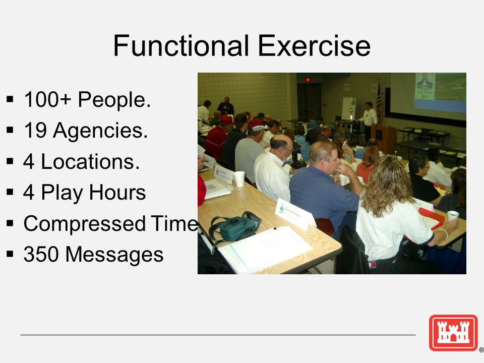 Functional Exercise  100+ People.  19 Agencies.