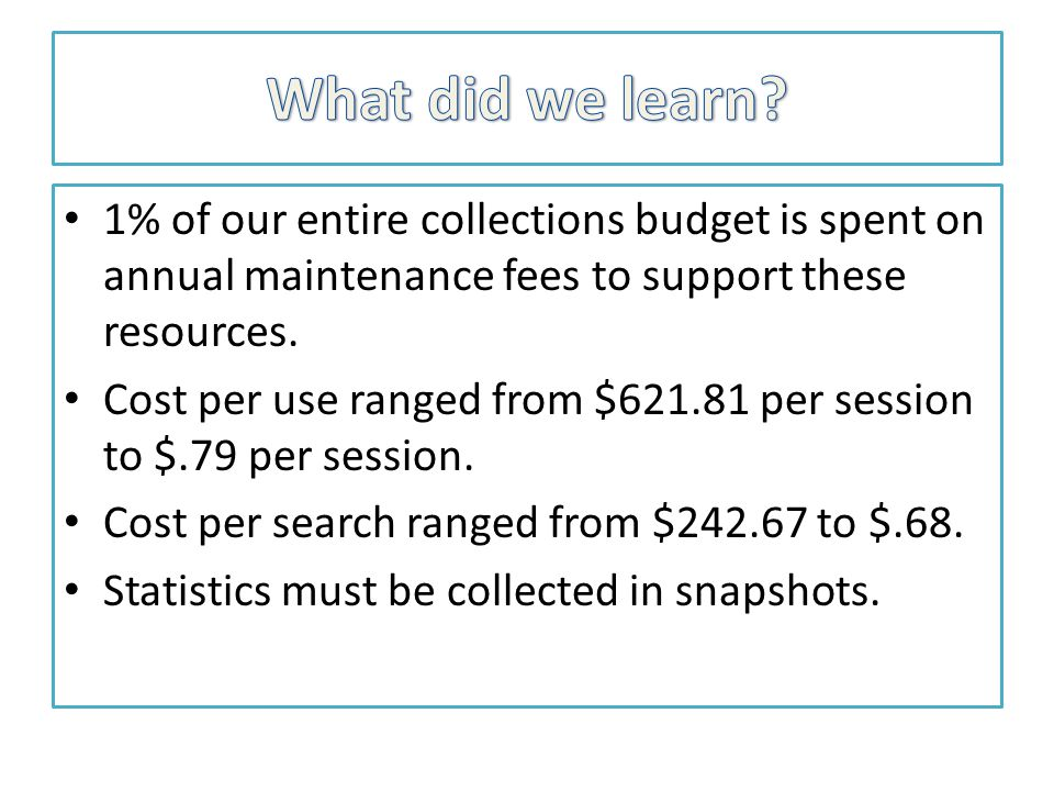 1% of our entire collections budget is spent on annual maintenance fees to support these resources.