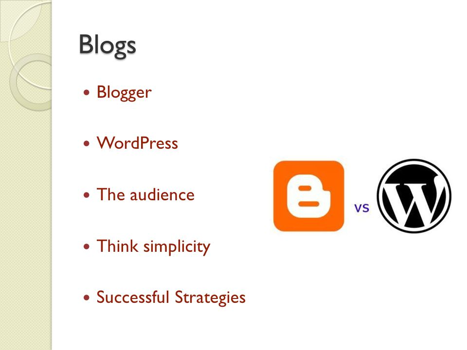Blogs Blogger WordPress The audience Think simplicity Successful Strategies