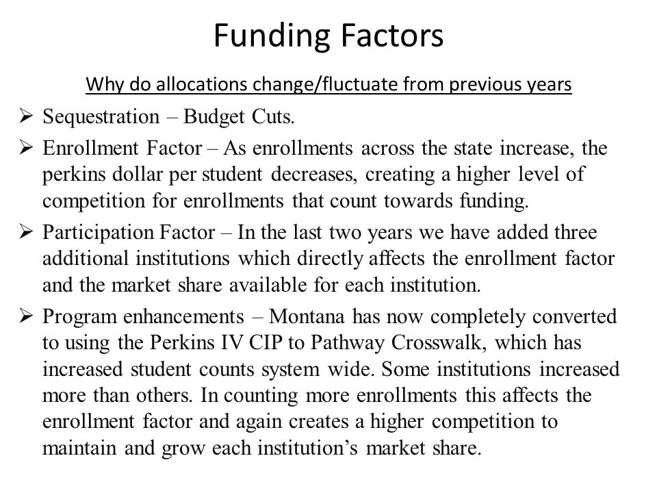 Funding Factors Why do allocations change/fluctuate from previous years  Sequestration – Budget Cuts.