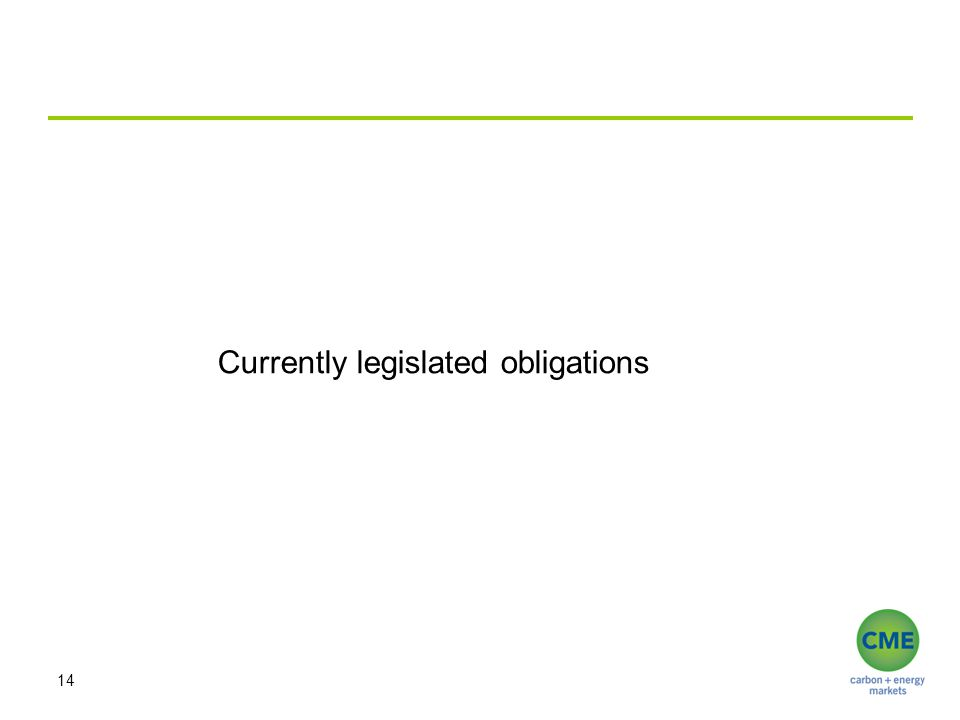 14 Currently legislated obligations