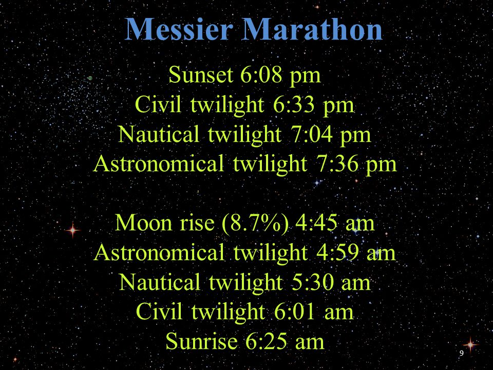 9 Sunset 6:08 pm Civil twilight 6:33 pm Nautical twilight 7:04 pm Astronomical twilight 7:36 pm Moon rise (8.7%) 4:45 am Astronomical twilight 4:59 am