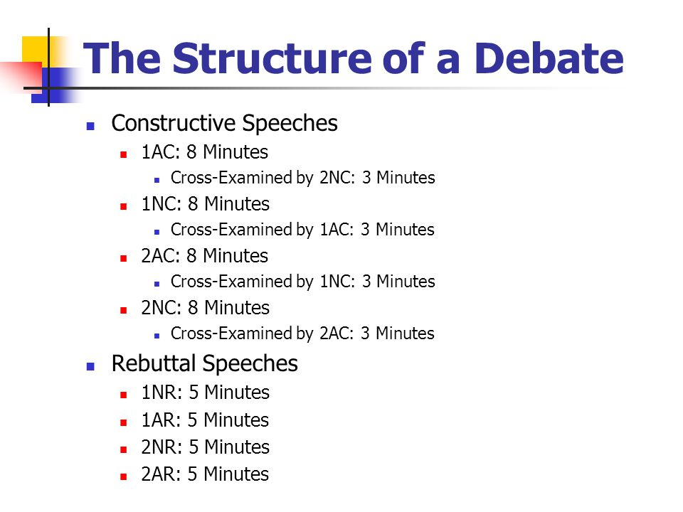 The Structure of a Debate Constructive Speeches 1AC: 8 Minutes Cross-Examined by 2NC: 3 Minutes 1NC: 8 Minutes Cross-Examined by 1AC: 3 Minutes 2AC: 8 Minutes Cross-Examined by 1NC: 3 Minutes 2NC: 8 Minutes Cross-Examined by 2AC: 3 Minutes Rebuttal Speeches 1NR: 5 Minutes 1AR: 5 Minutes 2NR: 5 Minutes 2AR: 5 Minutes