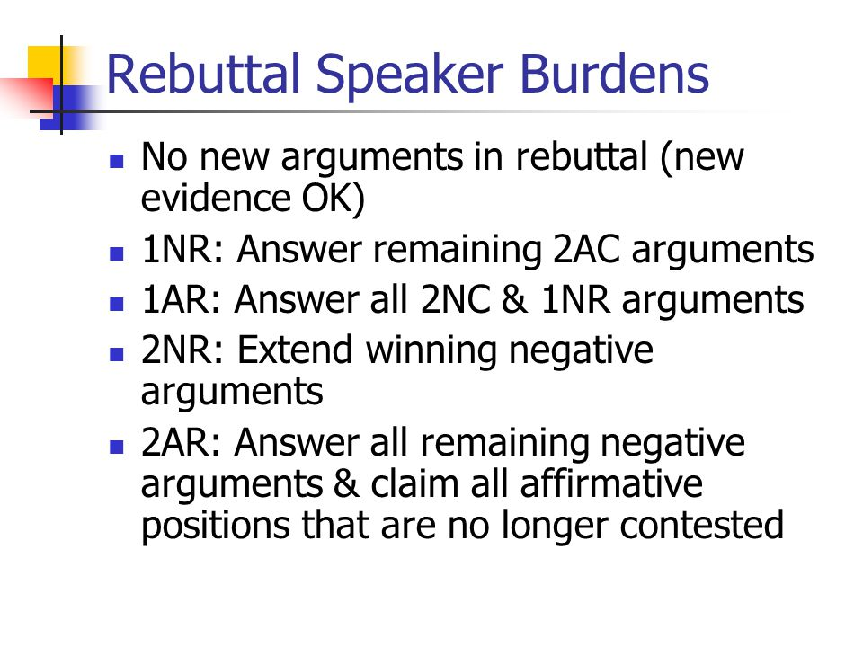 Rebuttal Speaker Burdens No new arguments in rebuttal (new evidence OK) 1NR: Answer remaining 2AC arguments 1AR: Answer all 2NC & 1NR arguments 2NR: Extend winning negative arguments 2AR: Answer all remaining negative arguments & claim all affirmative positions that are no longer contested